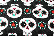 BLACK & WHITE SKULLS & HEARTS FLANNEL FABRIC 100% COTTON SEWING QUILTING 1/2 YD