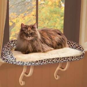 """K&H PET PRODUCTS 9097 Leopard DELUXE KITTY SILL WITH BOLSTER LEOPARD 14"""" X 24..."""