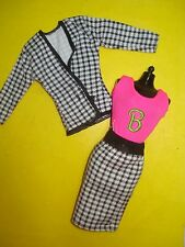 Vtg Barbie 90s TAGGED Doll Clothes Lot HOUNDSTOOTH SKIRT Set B Label