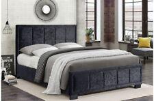 Superbe et stylé NOIR VELOURS Ecrasé cadre de lit avec amorti Tête de lit 1.2m M