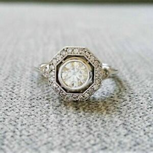 2Ct Round Cut Diamond Antique Halo Art Deco Engagement Ring White Gold Over