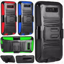 Samsung Galaxy Note 8 Hybrid Combo Holster KICKSTAND Rubber Cover +Screen Guard