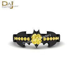 Holy Smokes Batman Ring Black Enhanced Yellow Diamond Wedding Bridal 14K Gold