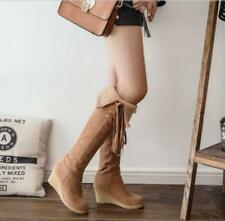 Womens Suede Fashion Knee High Boots Winter Warm Wedge Heel Shoes Sz35-44