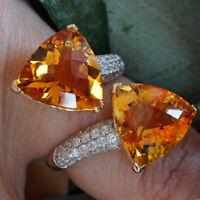 Citrin Brillant Ring in 750er Gelbgold