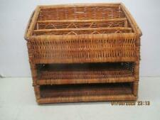 "Vintage Wicker/Bamboo Desk/Table Top/ Office Storage Holder 11"" Tall x 11"" Wide"