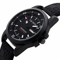 Men's Leather Stainless Steel Sport Analog Quartz Wrist Watch Waterproof Fashion