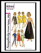 "Simplicity 6244 Fashion DOLL Fabric Sewing Pattern TAMMY Jan 12"" Vintage Barbie"