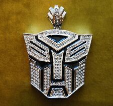Iced out Robot pendant hip hop bling CZ rhinestones silver toned celebrity wear