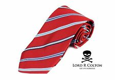 Lord R Colton Basics Tie - Red & Blue Classic Stripe Necktie - $49 Retail New