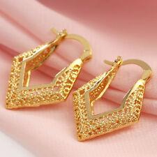 Women Charm 18K Yellow Gold Filled Hollow Stud Hoop Earrings Wedding Jewelry