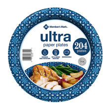 "Member's Mark Ultra 10"" Printed Paper Plates, Soak Protection (204 count)"
