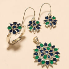 925 Sterling Silver New Year Jewelry Real Emerald Sapphire Ring Earrings Pendant