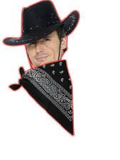 Cowboy Fancy Dress Instant Kit Leather Cowboy Black Hat Green Bandanna
