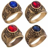 Size 7-15 18K Gold Plated USA Army Navy Airforce Marines Ring Red Blue Stones