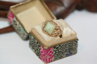 Rare Chinese Filigree Men's Women's Pyramid Jade 14K Gold Ring Sz 6 Antique Box