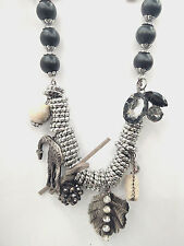 Chic Silver Alloy Rings & Black Bead Rhinestone & Maple Leaf Pendent  Necklaces