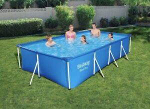 Bestway 56424 Rectangular Above Ground Swimming Pool Steel Pro 400x211x81 pump