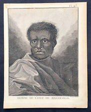 1778 Capt. Cook Antique Print of a Man of Malakula Island in Vanuatu Sept. 1774