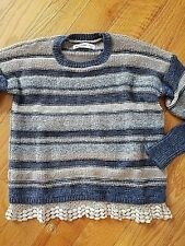 GIRLS JUSTICE SWEATER WITH LACE HEM SIZE 9/10 NWOT