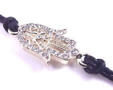 Khamsa Noir Corde Or Bracelet Mauvais Oeil Charm Kabbale Main De Fatima Judaica