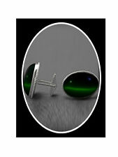 Green Cat's Eye Stone Cufflink  STERLING SILVER