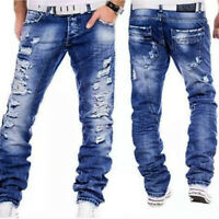 New Mens Straight Slim Fit Jeans Distressed Ripped Leg Zips Blue All Sizes Waist