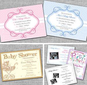 Personalised Baby Shower Invitations, Invites, including white envelopes.