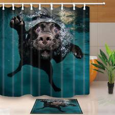 Swimming Dog Shower Curtain Bathroom Waterproof Fabric & 12hooks 71*71inches