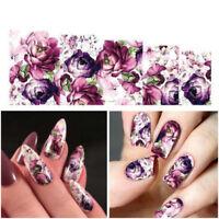 5xDeep Purple Flowers Nail Art Water Decals Stickers Transfers Gel Polish Beauty