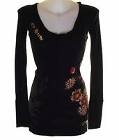 New Women's Ed Hardy Long T Shirt Top Short Mini Dress Black Ribbed Stretch