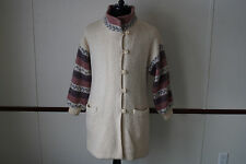 Hilda Ltd ICELAND Cream & Gray Nordic Design 100% Pure Wool Lined Coat Large