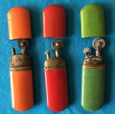 Antique German Lighters Lot of 3 - Marked - Colors are Orange, Red & Green