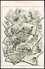1877 Antique Print - CHRISTMAS CARDS ASSORTMENT COMEDY  (224)