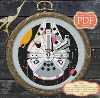 Millennium Falcon - Cross stitch PDF pattern Modern Embroidery Hoop Art #008