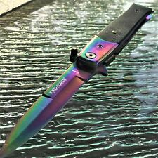 "9"" TAC FORCE SPRING ASSISTED TACTICAL STILETTO POCKET KNIFE Blade Rainbow Open"