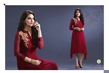 Trendy Western Georgette embroidary work Kurti Marun
