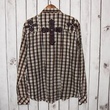 REMETEE Men's Western Pearl Snap Shirt Brown Plaid Cross back Sz XL