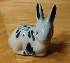 Bunny Rabbit with Long Ears Small Ceramic Figurine Blue and White design