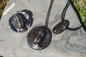 Unusual TRILOBITE Fossil Necklace or Brooch or Pendant Ceramic Pottery GIFT W3