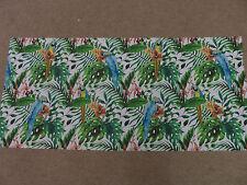 Parrot parrots tropical leaves green blue orange remnant fabric piece 130x60cm