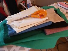 Good sized  remnants/scraps of wool and wool mix fabric. Mixed  texture