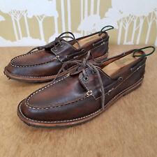 FRYE Men's Bleeker Brown Leather Boat Shoe Size 8.5 M Crepe Gum Sole Moc Toe