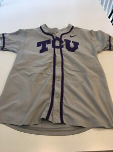 Game Worn Used Nike TCU Horned Frogs Baseball Jersey #8 Size 50