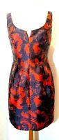 Trina Turk Floral Dress Sleeveless Split Neck  Sz 6 - Fitted sheath Red Black