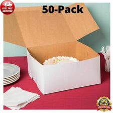 50 Pack 12 x 12 x 6 White Square Paperboard Cake Bakery Box Non Corrugated