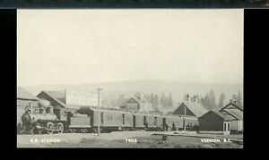 Reprint, R. R Station 1905 Vernon, station, BC unused photo post card Canada