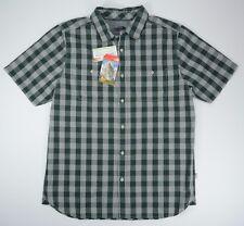 North Face Mens L Large Gray Plaid Outdoor Hiking Short Sleeve Shirt New NWT