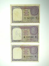 (3) 1957 ONE RUPEE BANKNOTES - 3RD ISSUE SCARCE