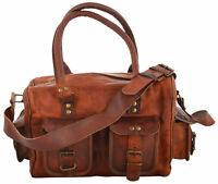 Leather Messenger Travel Duffel Shoulder Bag Overnight Luggage Tote Handbag Mens